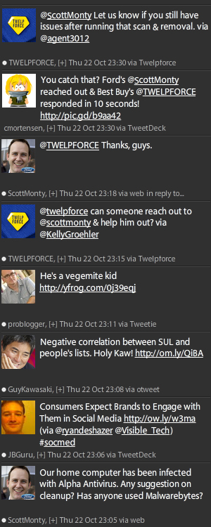 Twitter exchange seen via TweetDeck
