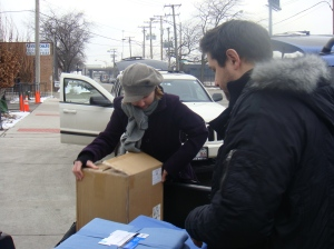 Chris and Myself unloading at The Pacific Garden Mission