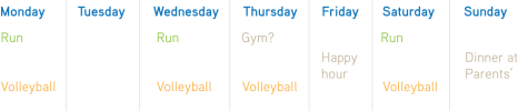 My weekly schedule for spring